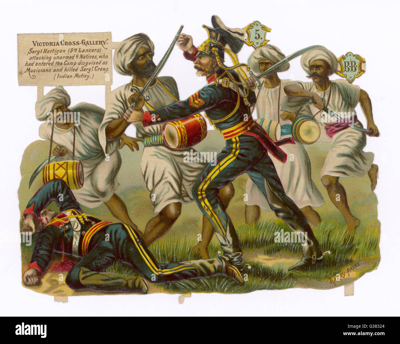 Sgt.Hartigan of the 9th  Lancers, unarmed, attacks four murderous rebels  disguised as itinerant musicians. He was Stock Photo