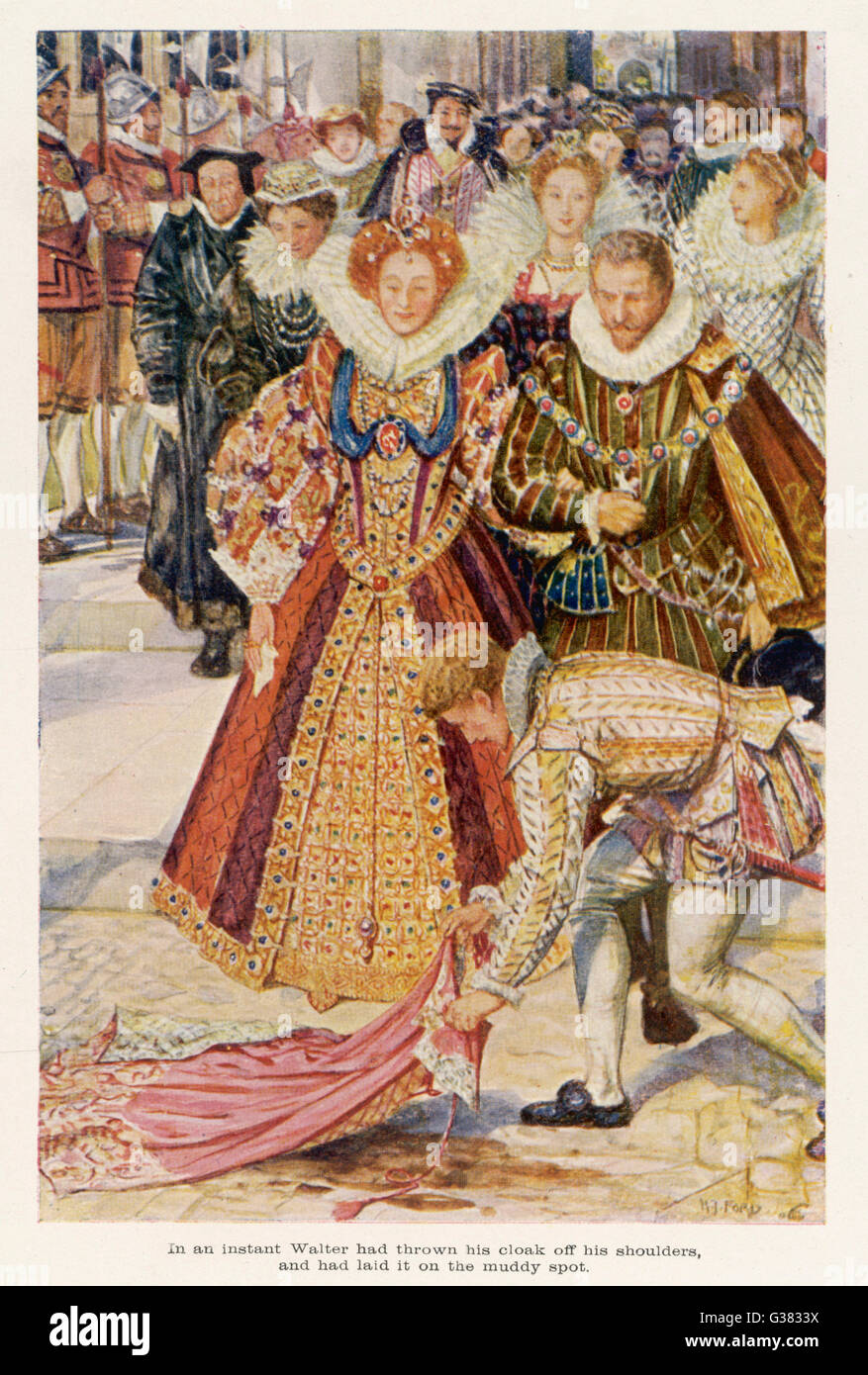 SIR WALTER RALEIGH  sacrifices  his new cloak so that his  queen's feet will not get  muddied.       Date: 1554 - Stock Image