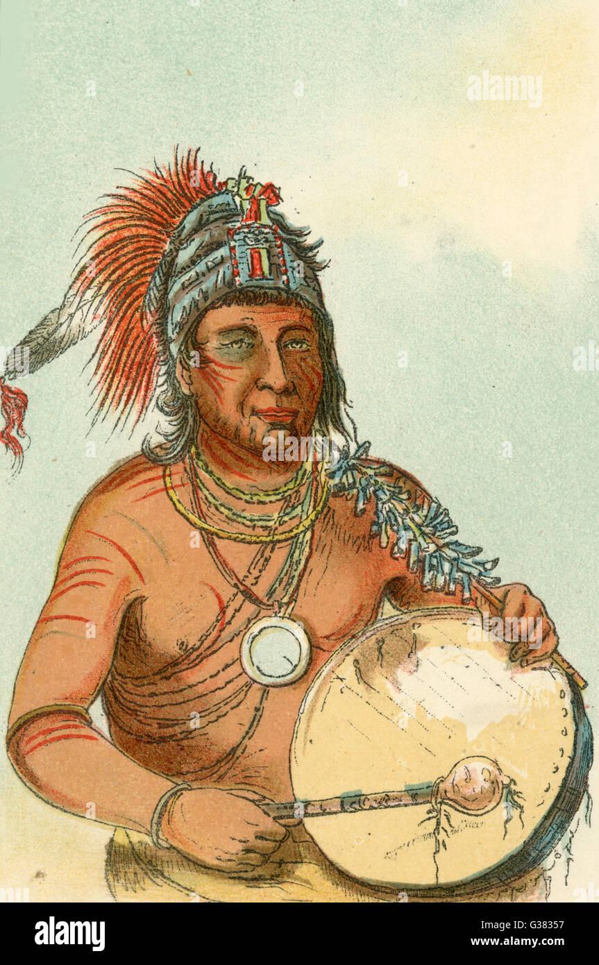 Sioux Medicine-Man          Date: circa 1830 - Stock Image
