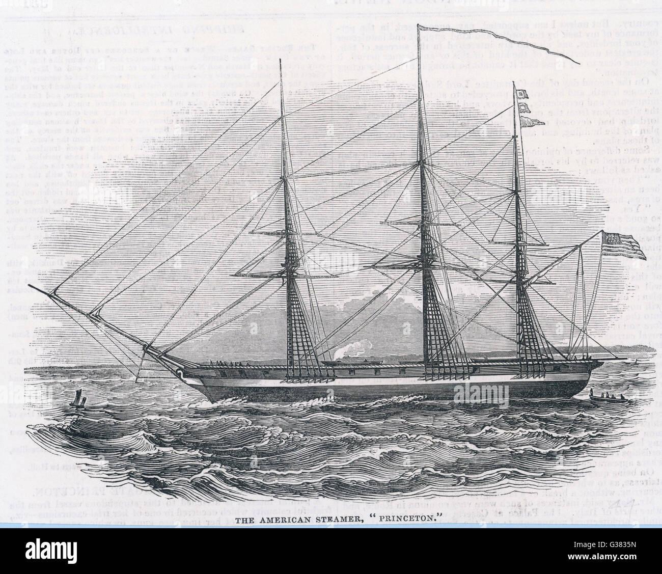 American propeller-driven  steam frigate         Date: 1844 - Stock Image