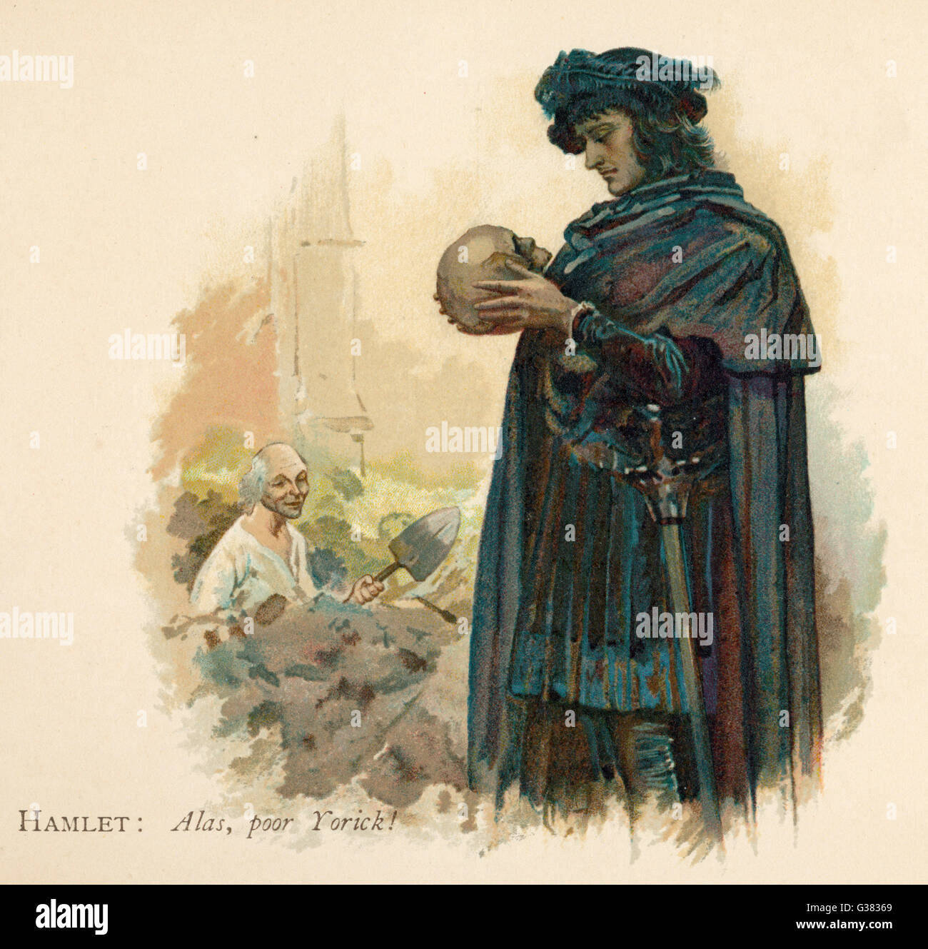 Hamlet with Yorick's skull - Stock Image