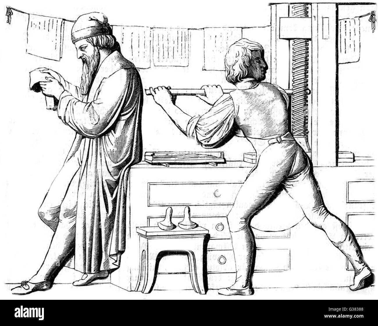 Gutenberg takes a proof - Stock Image