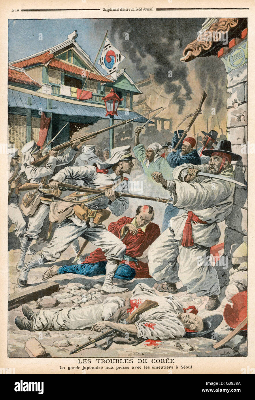 Seoul : rioters in conflict  with the Japanese forces of  occupation        Date: 1907 - Stock Image
