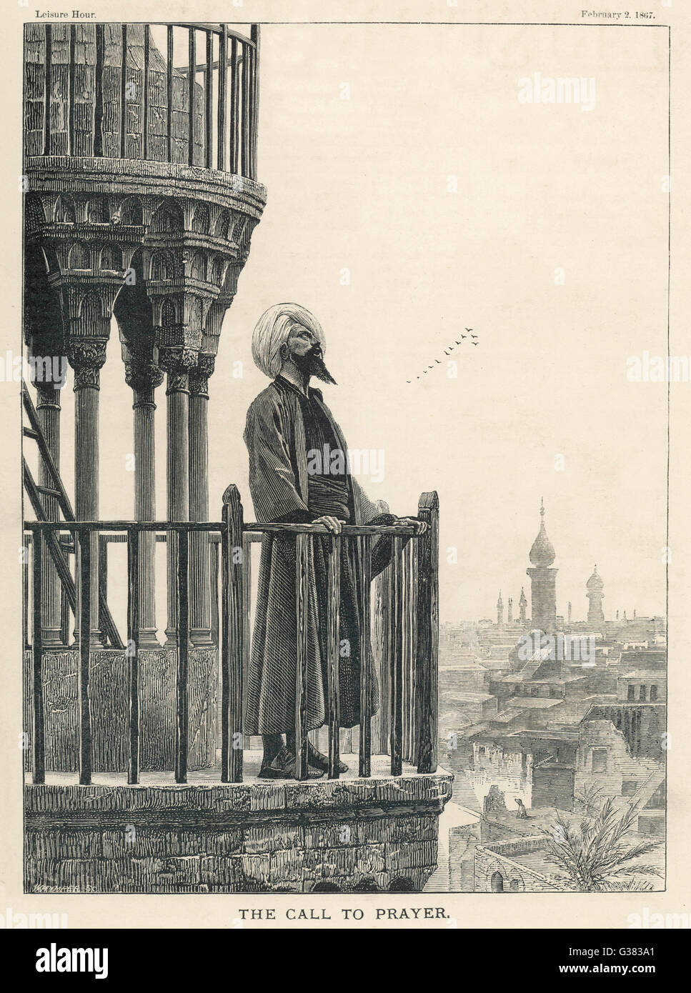 The Muezzin calls the faithful  to prayer from a minaret         Date: 1867 - Stock Image