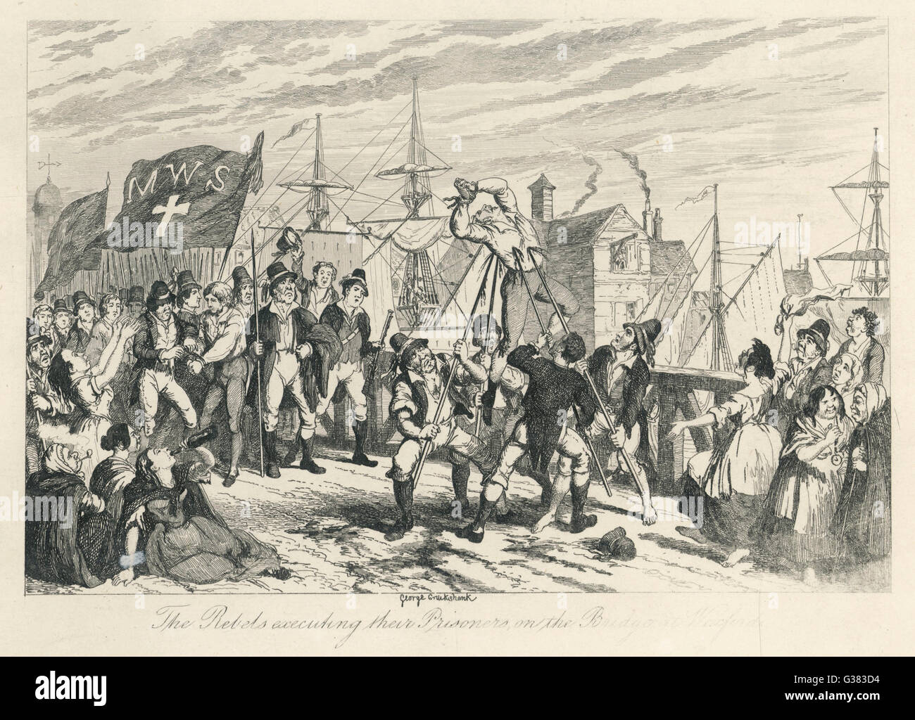'The Rebels executing their  Prisoners on the Bridge at  Wexford'        Date: 21st June 1798 - Stock Image