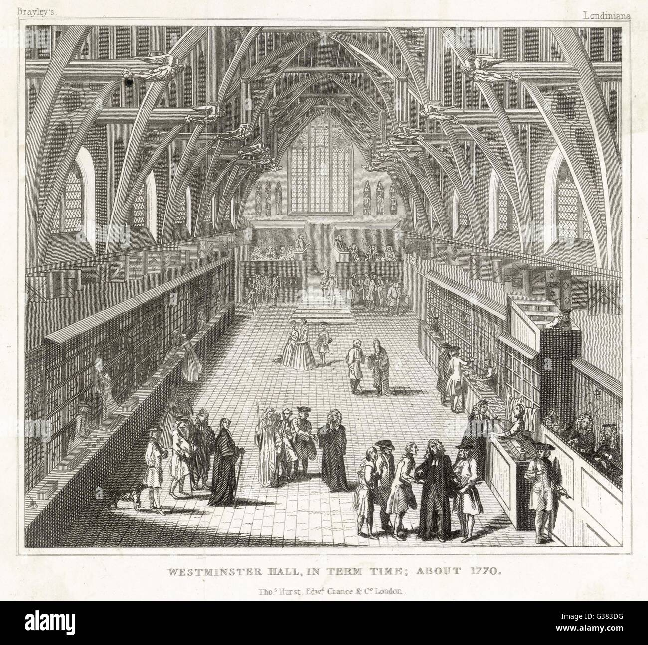 Westminster Hall in term time         Date: 1770 - Stock Image