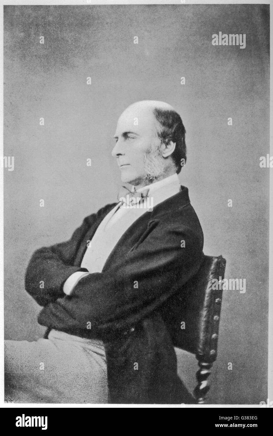 FRANCIS GALTON  Scientist - aged about 50        Date: 1822 - 1911 - Stock Image