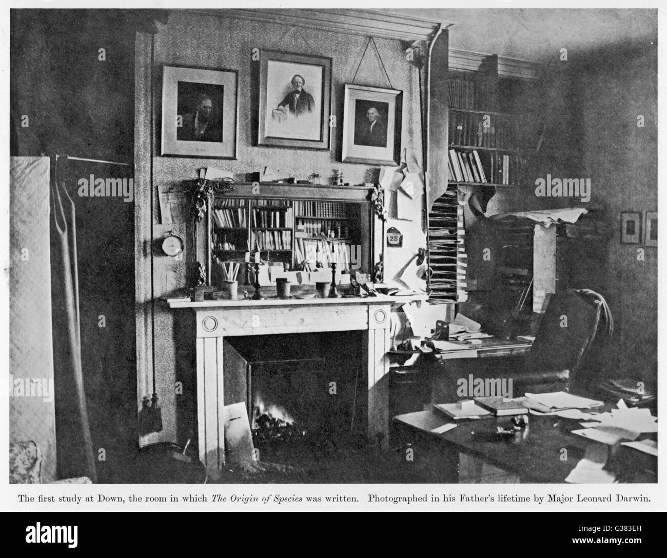 CHARLES DARWIN'S HOME  The study in which he wrote 'On The Origin Of Species'       Date: 1809 - 1882 - Stock Image