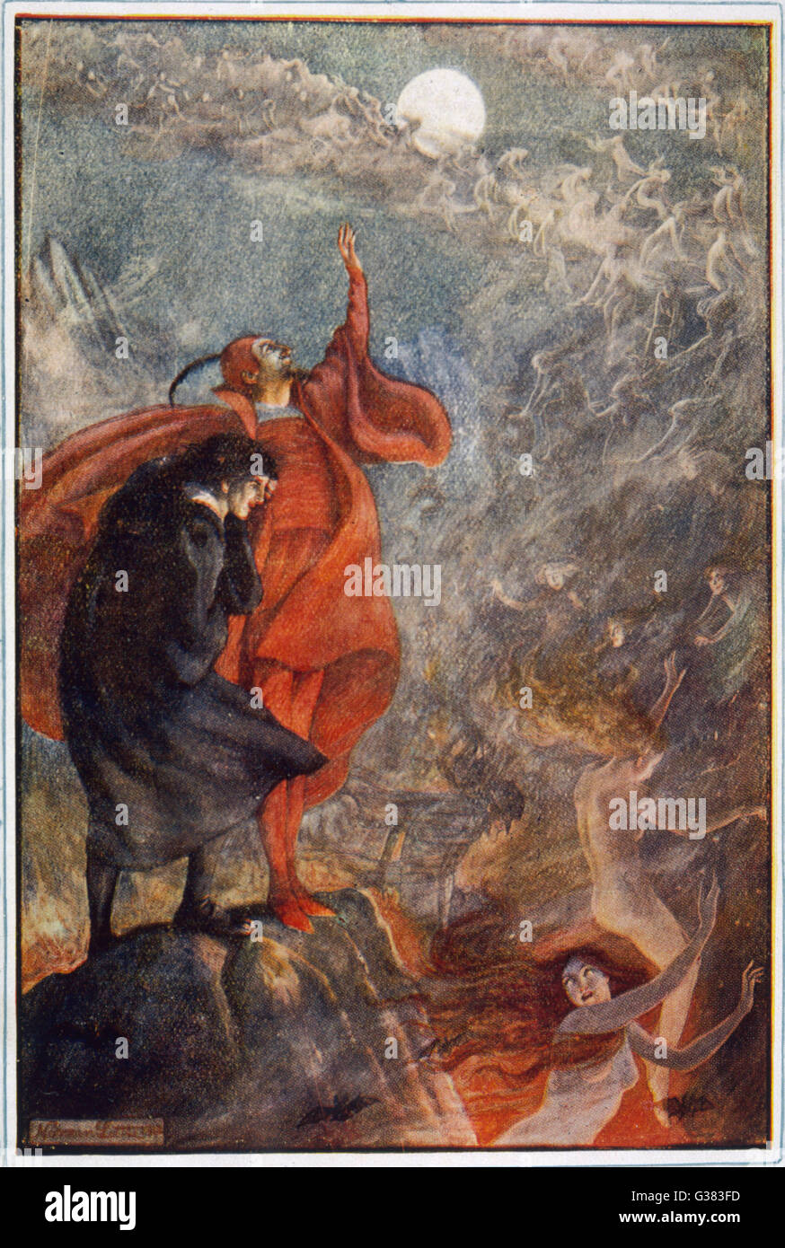 Faust with Mephistopheles on the Brocken Stock Photo