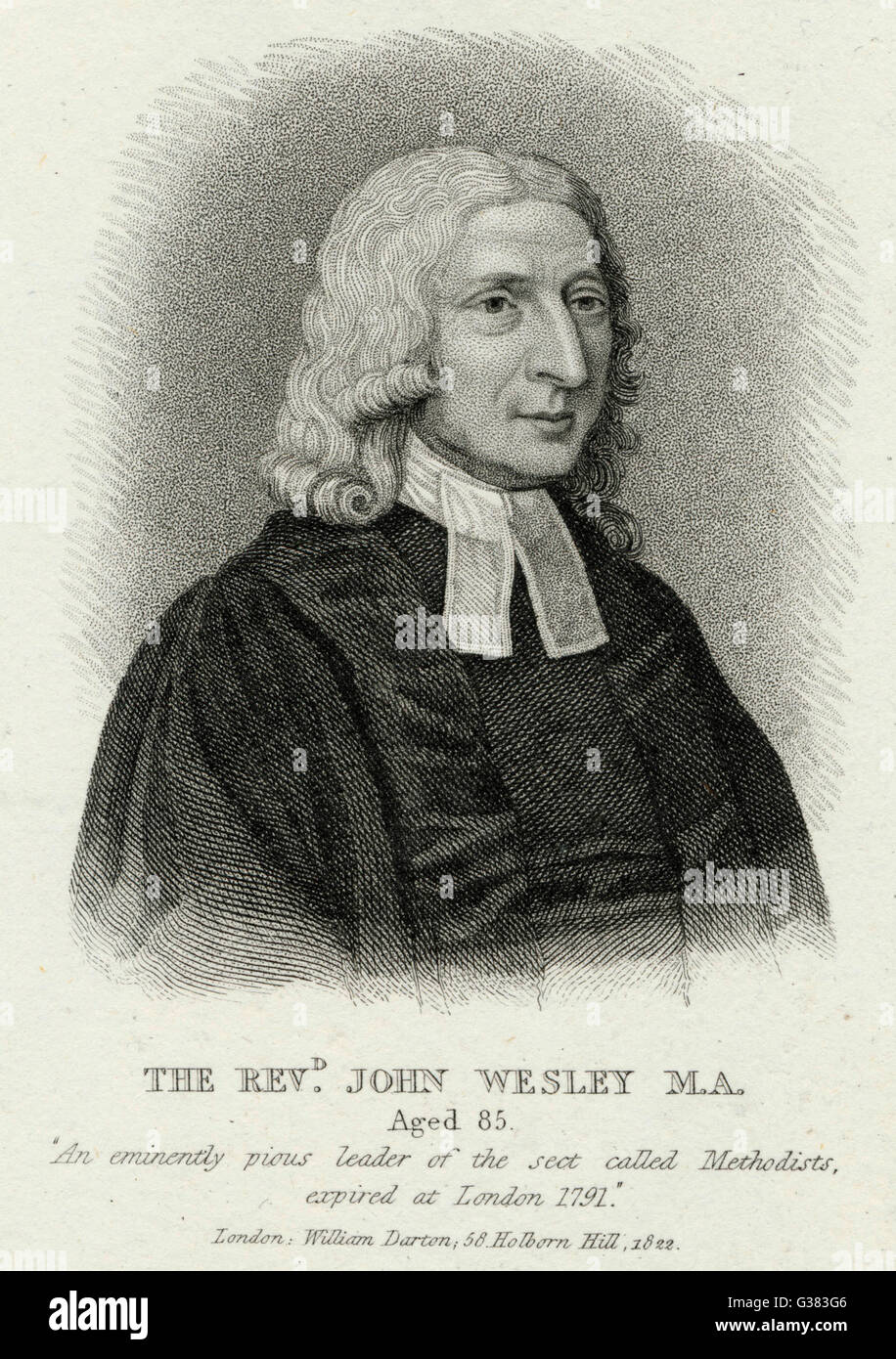 JOHN WESLEY  English religious leader  aged 85       Date: 1703 - 1791 - Stock Image