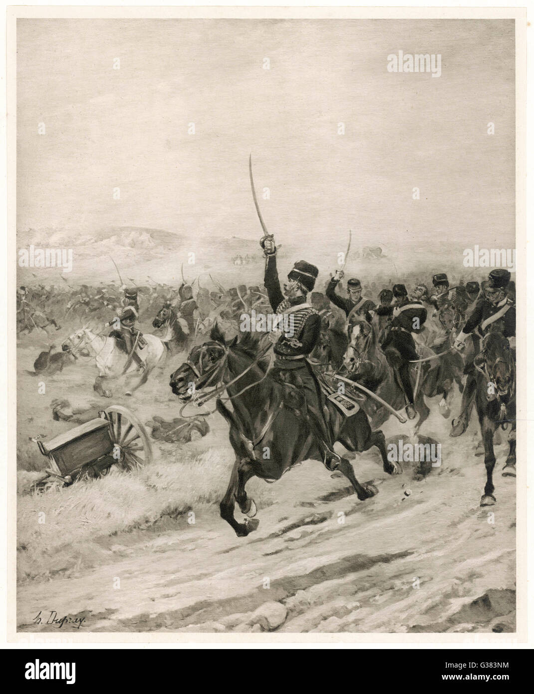 The Charge of the Light  Brigade  - 'into the Valley  of Death !'        Date: 25 October 1854 - Stock Image