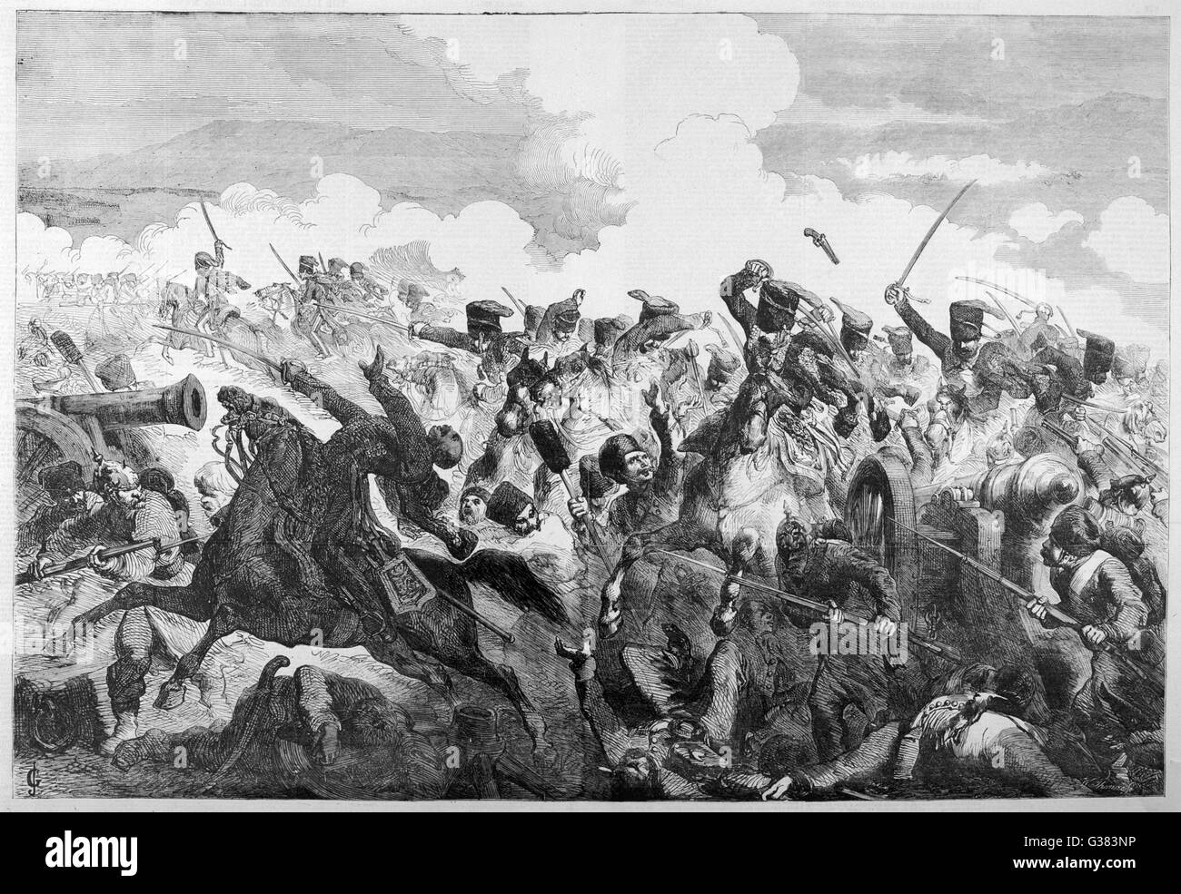 The Charge of the Light  Brigade  - the thick of the fighting        Date: 25 October 1854 - Stock Image