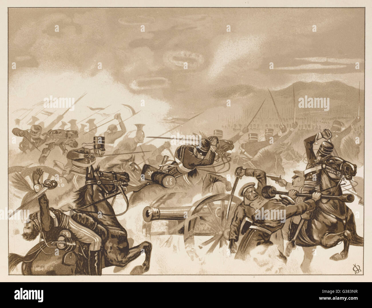 The Charge of the Light  Brigade  - the first line  reaches the Russian guns        Date: 25 October 1854 - Stock Image