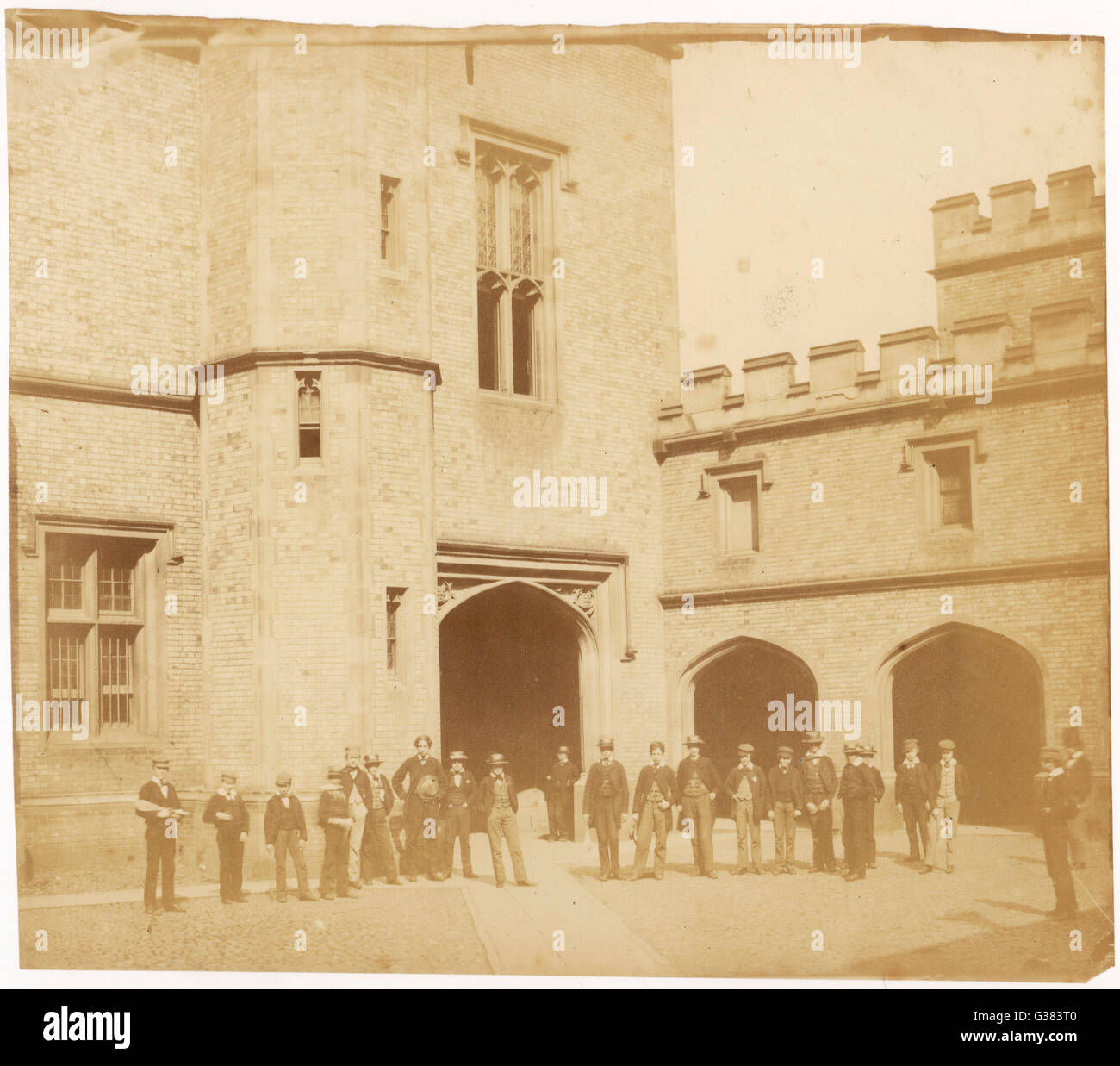 Scholars in front of one of  the school buildings  3 of 4       Date: 1850s - Stock Image