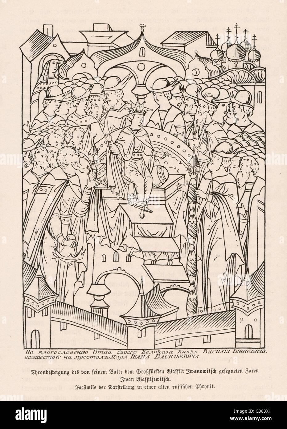 Coronation of Ivan IV (the  Terrible)        Date: 1547 - Stock Image