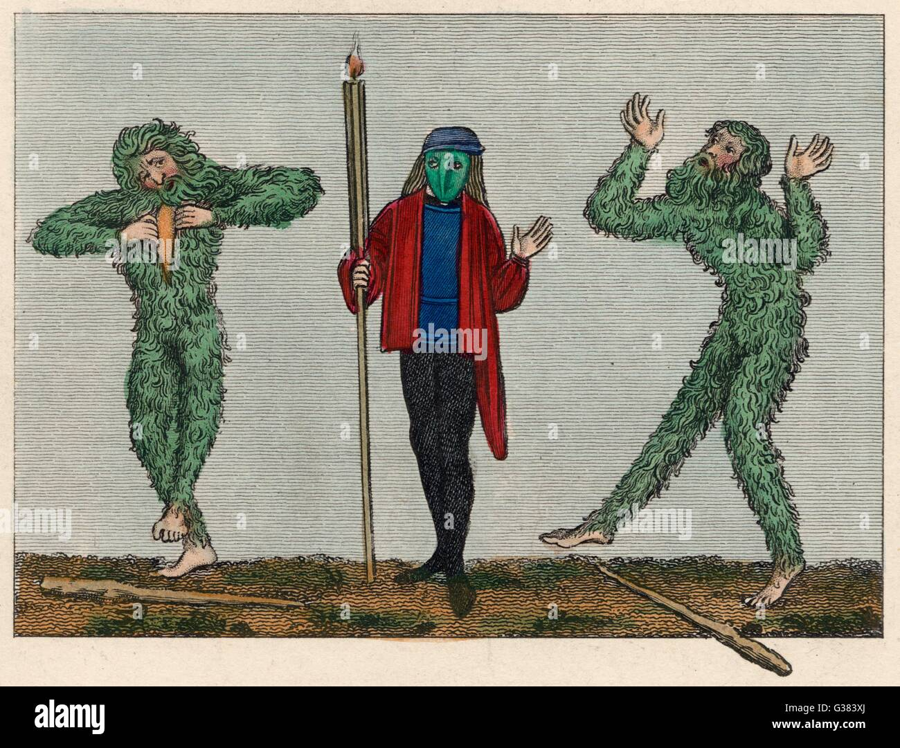 Green men of English  traditional folk customs,  dressed for a masquerade        Date: 15th century - Stock Image
