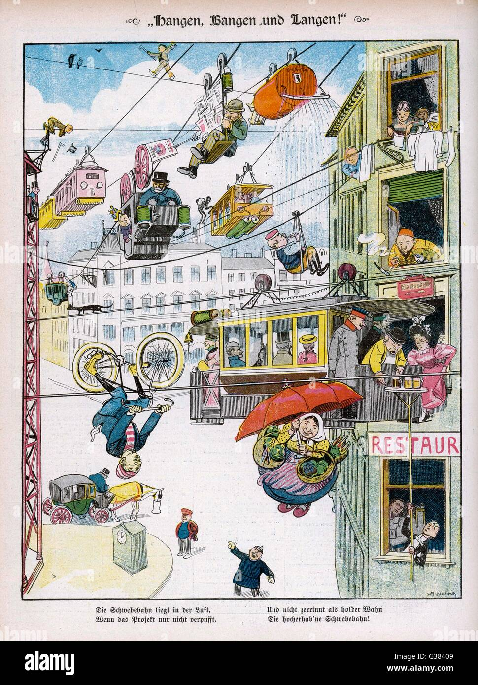 A satirical view of the  city of the future         Date: 1895 - Stock Image