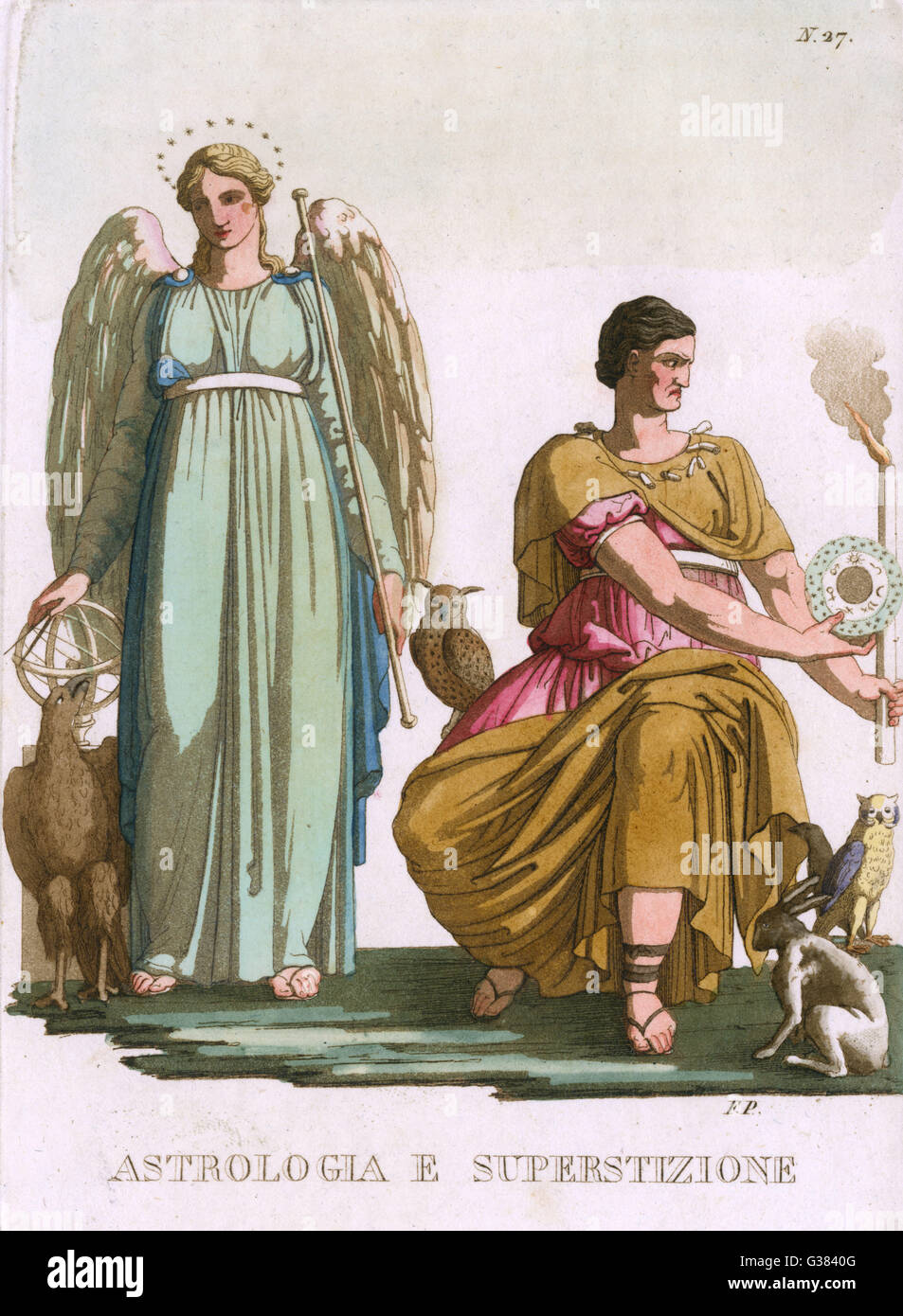 ASTROLOGIA E SUPERSTIZIONE  astrology admired, superstition scorned       Date: 18th century - Stock Image