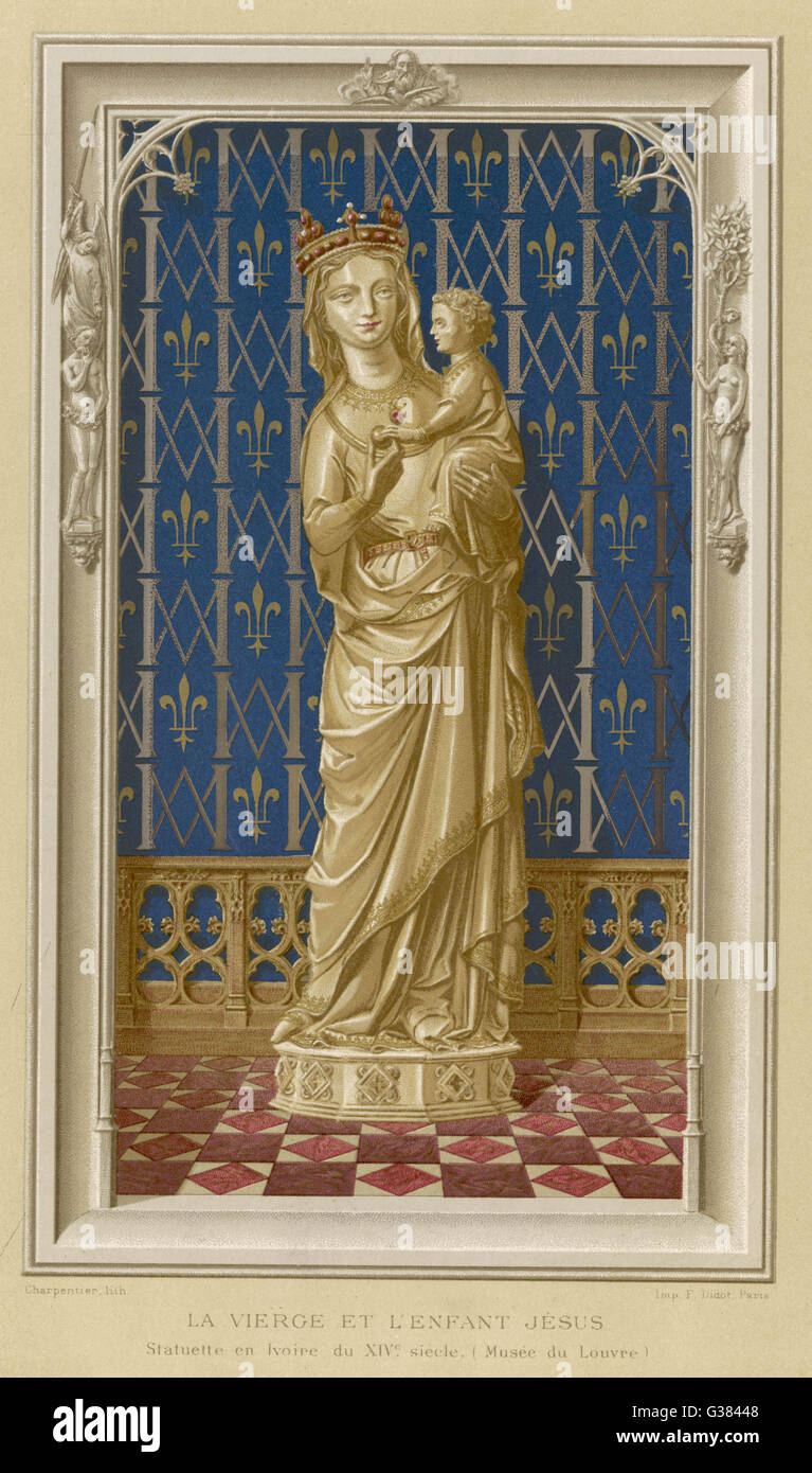 Mother of Jesus, whom she is shown holding         Date: 1st century - Stock Image