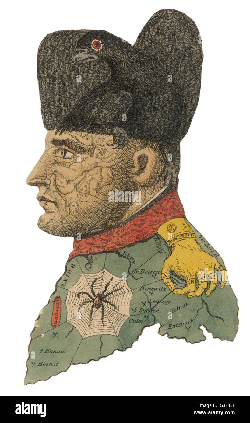NAPOLEON I  A fantasy portrait where he is  made up from a black bird, a  golden hand, a spider in its  web, figures - Stock Image