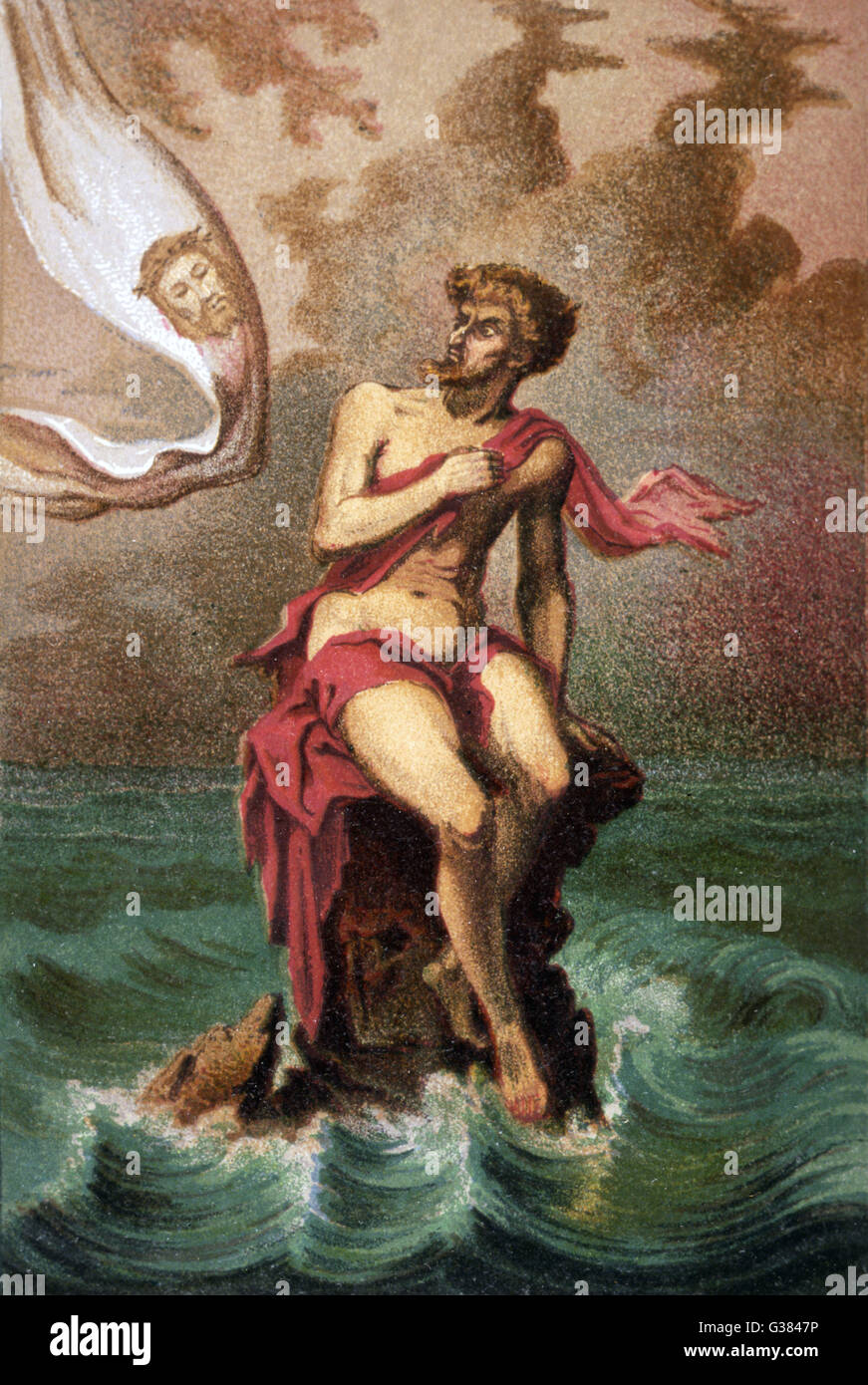 Saint Brendan, sailing  westward, comes across Judas,  condemned to spend eternity on  a mid-Atlantic rock, where - Stock Image
