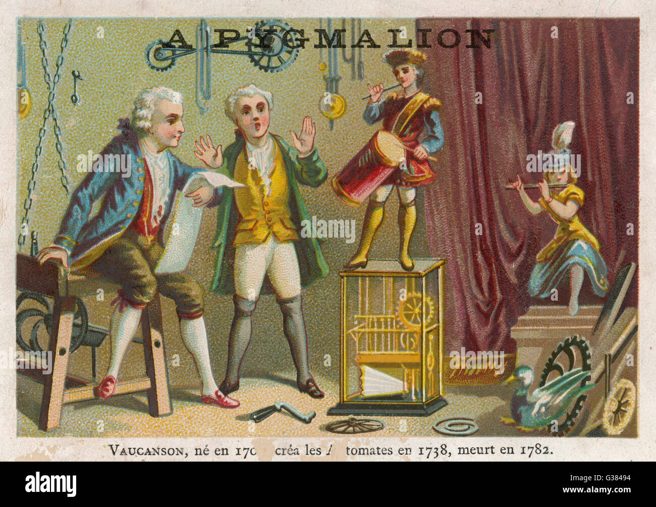 Vaucanson demonstrates his  automata         Date: 1738 - Stock Image