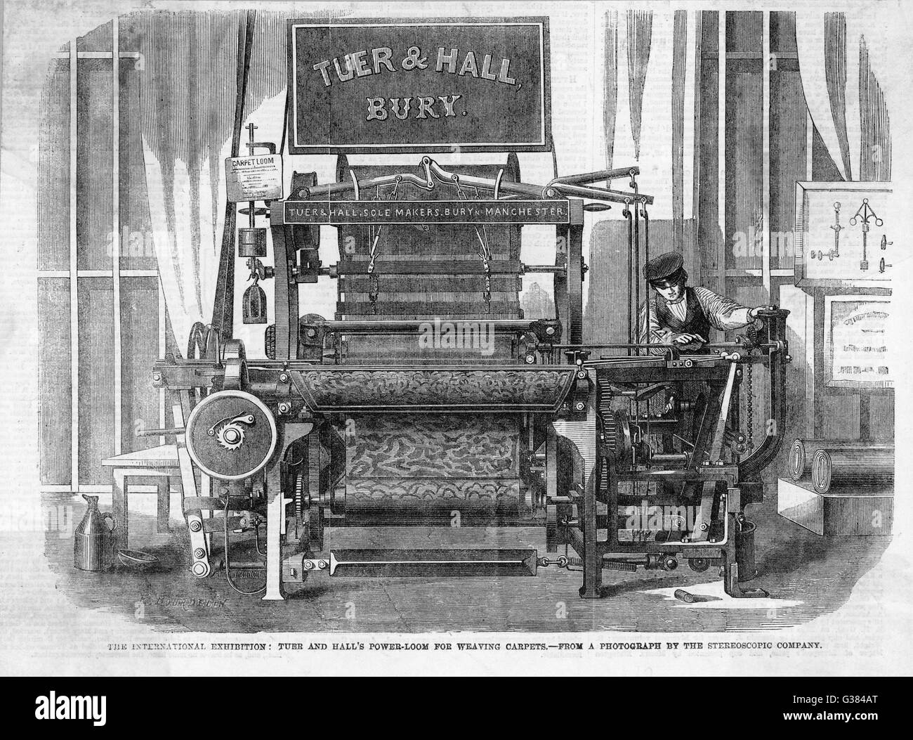 Tuer and Hall's Power-Loom for  weaving carpets. (Exhibited at  the 1862 Exhibition, London).        Date: 1862 - Stock Image