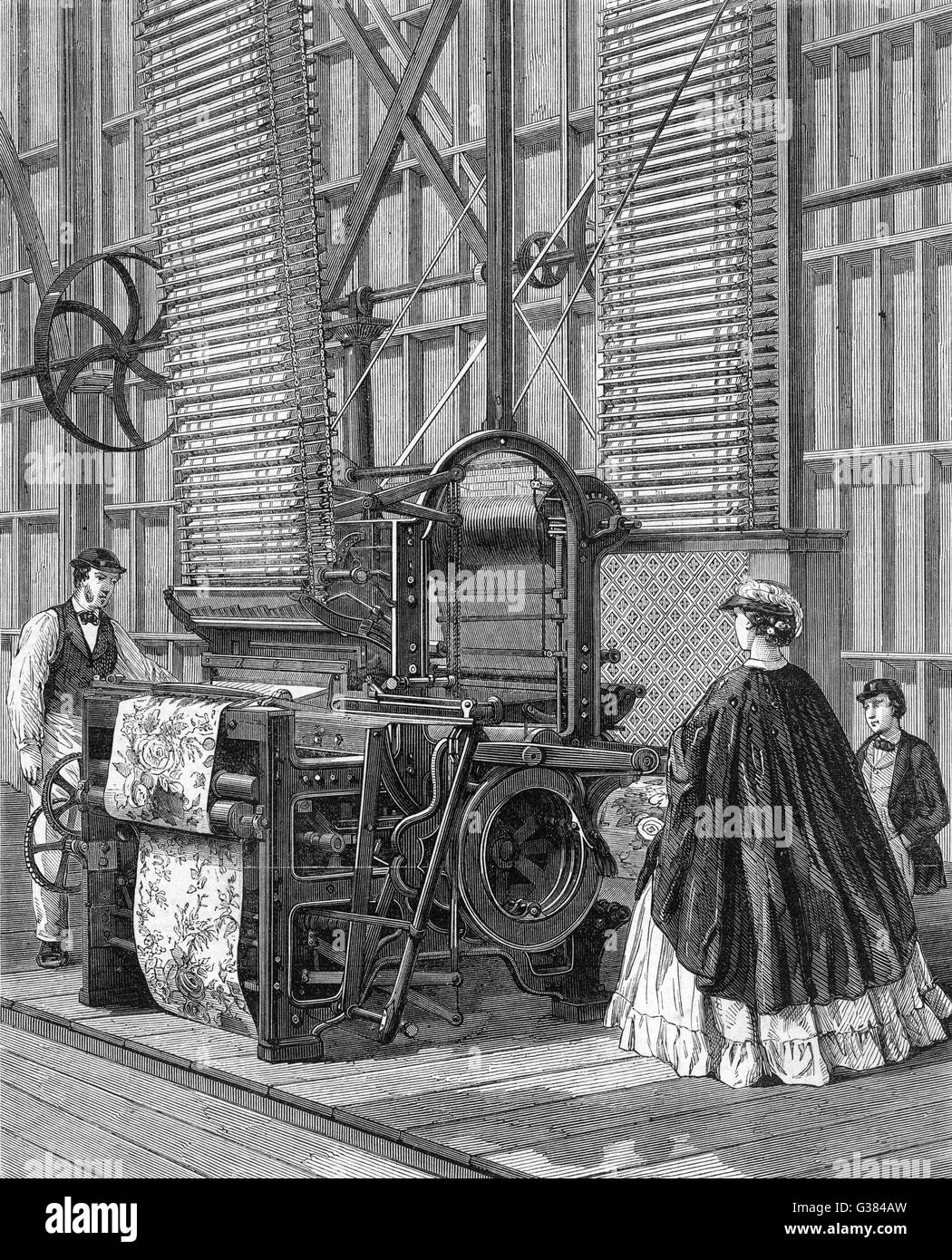 Smith's Power-Loom for  weaving tufted pile carpets. (Exhibited at the 1862 Exhibition, London).       Date: - Stock Image