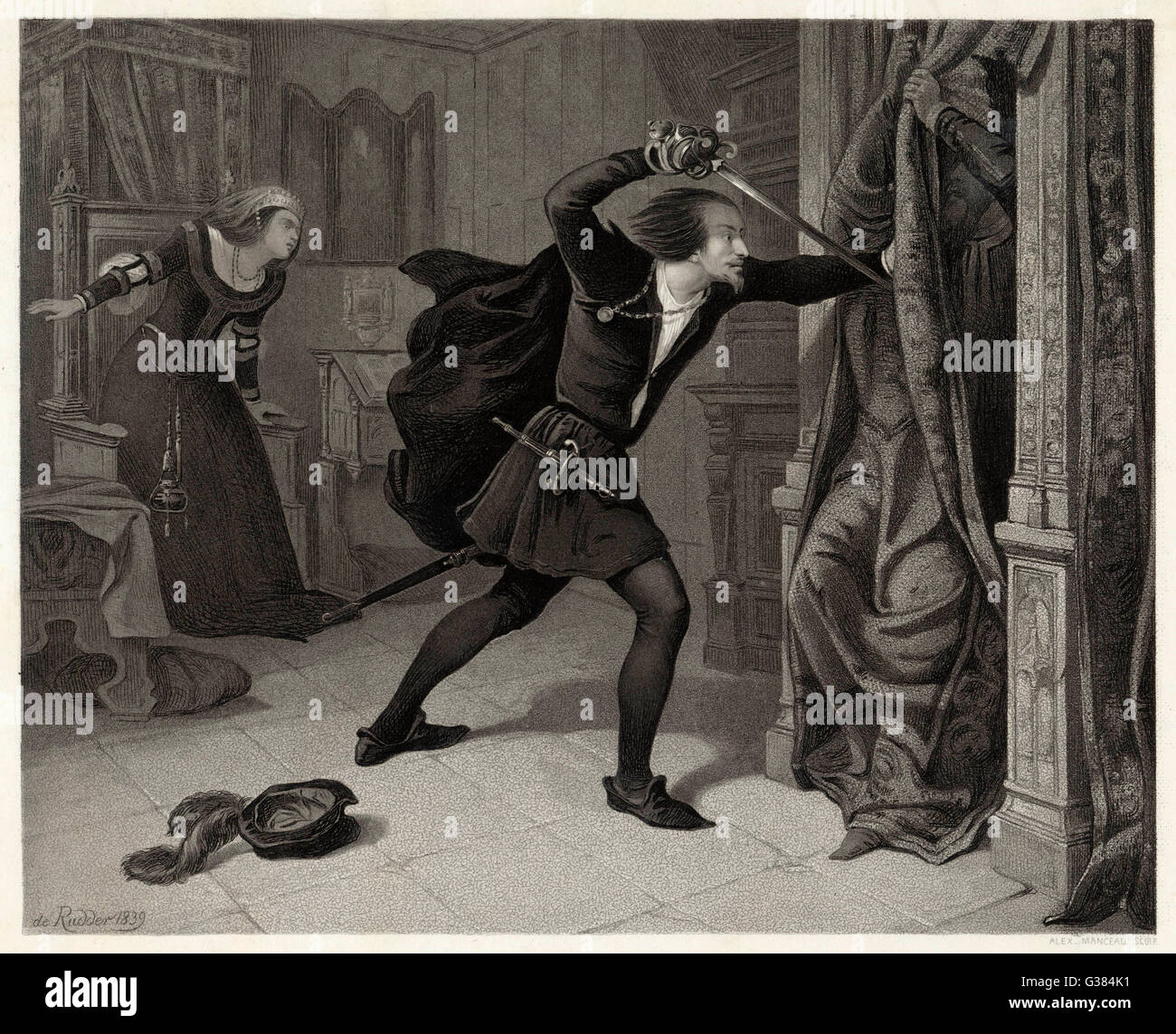 While talking with his mother,  Hamlet detects an intruder  hiding behind a curtain : he  stabs him, only to find - Stock Image