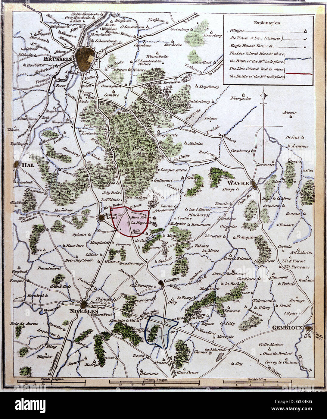 Map showing Quatre Bras and Waterloo at the time of the battle.       Date: 16-18 June 1815 - Stock Image