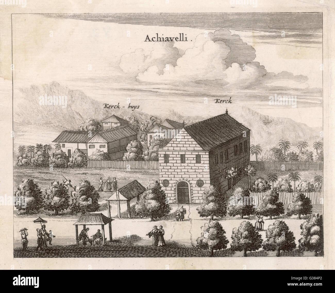 Dutch settlement in Ceylon         Date: 1682 - Stock Image