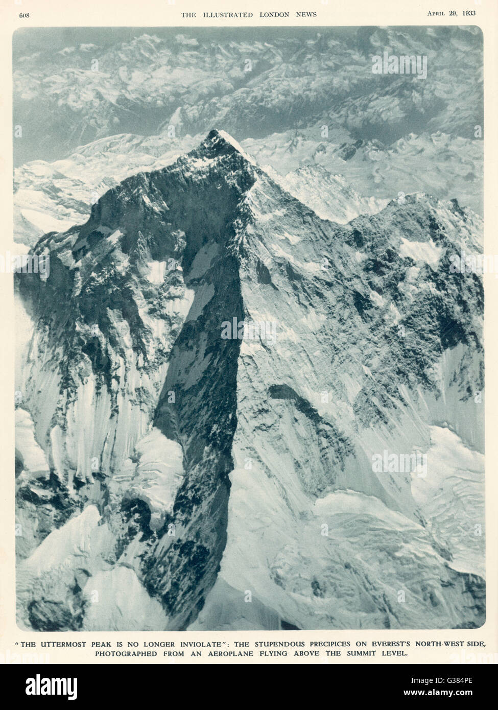 The first aerial photograph  of Mt Everest's summit.         Date: 3 April 1933 - Stock Image
