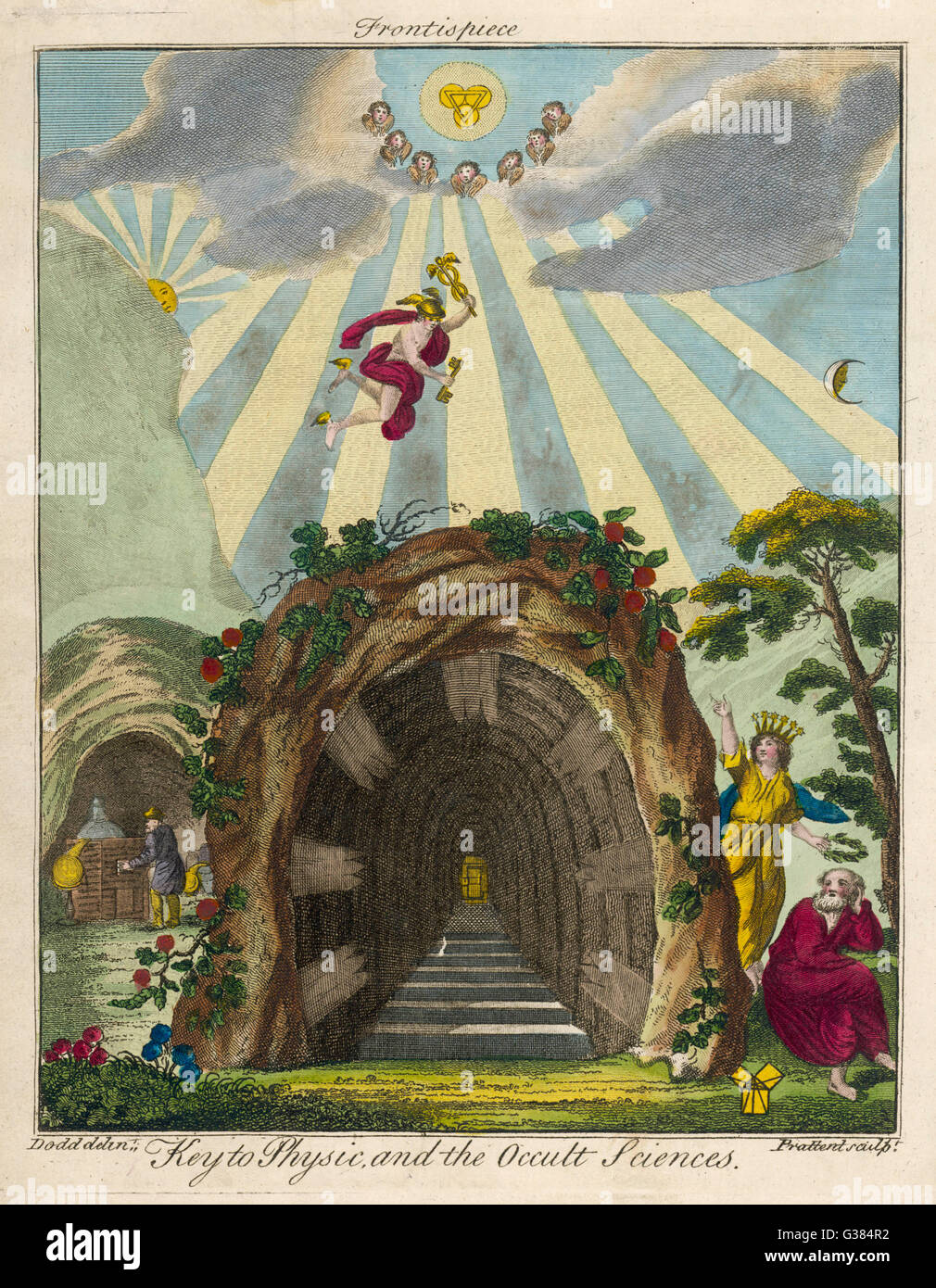 Symbolic frontispiece to Sibly's book        Date: 1794 - Stock Image