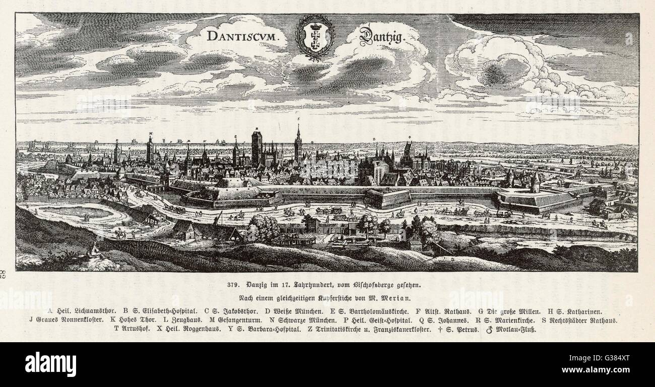 Panaramic view of Gdansk  (known formerly as Danzig)        Date: 17th Century - Stock Image
