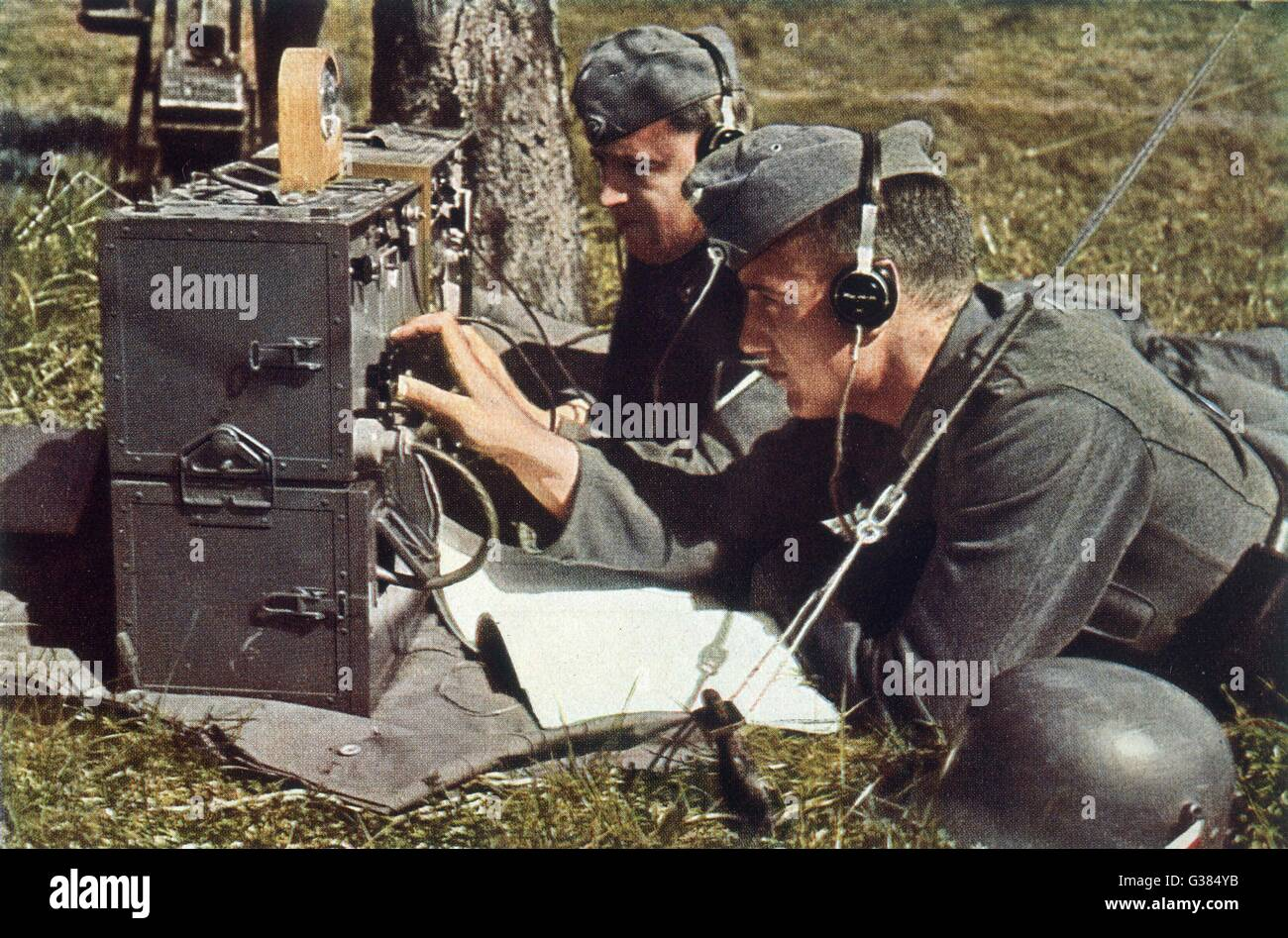 German army with field radio  in operation        Date: 1940 - Stock Image