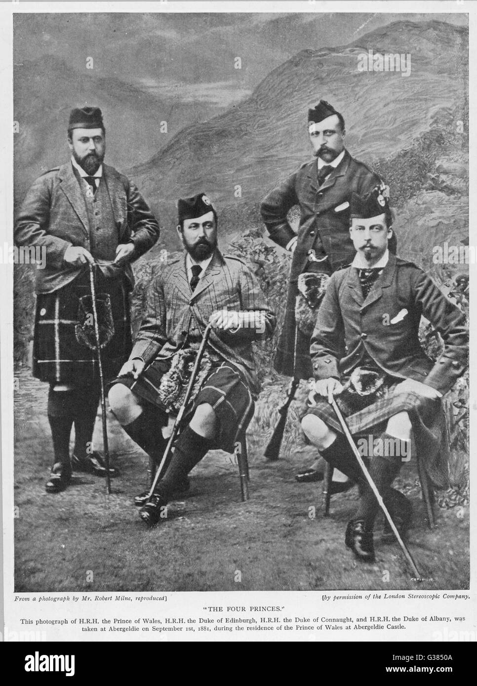 EDWARD VII, BRITISH ROYALTY  The Prince of Wales with his  three brothers, the Dukes of  Edinburgh, Connaught and - Stock Image