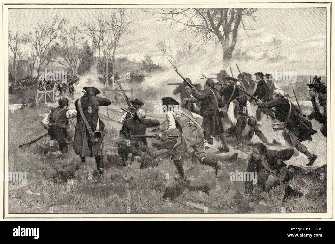 The Fight at Concord Bridge          Date: 19 April 1775 - Stock Image