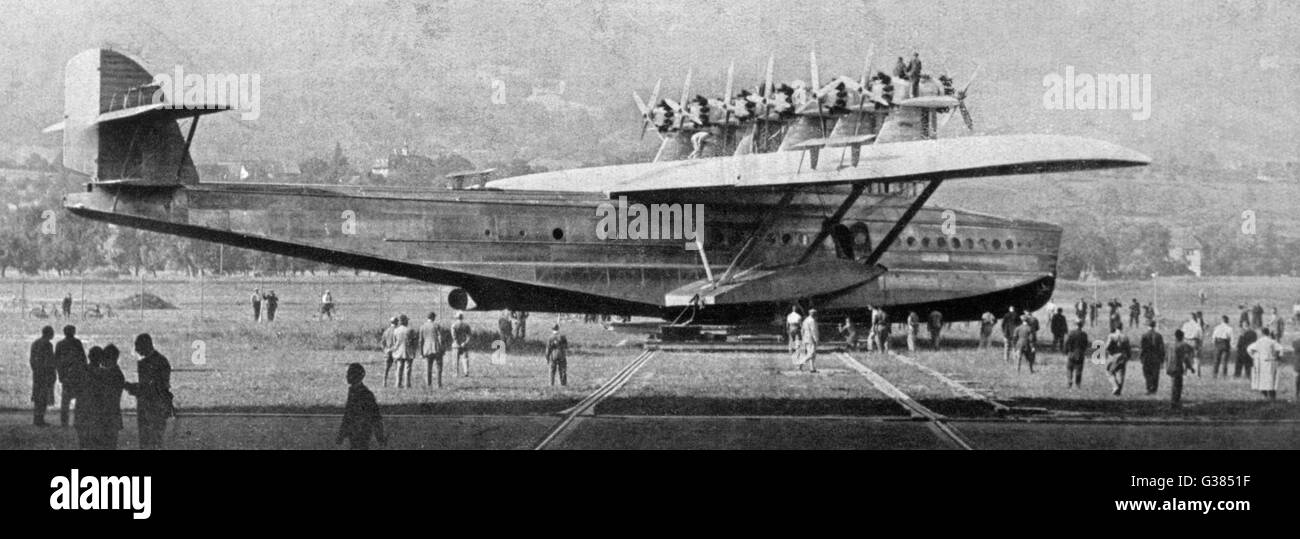 Before the launch : the mighty  but useless 12-motor flying  boat on a 'trolley' at the  factory at Altenrhein. - Stock Image