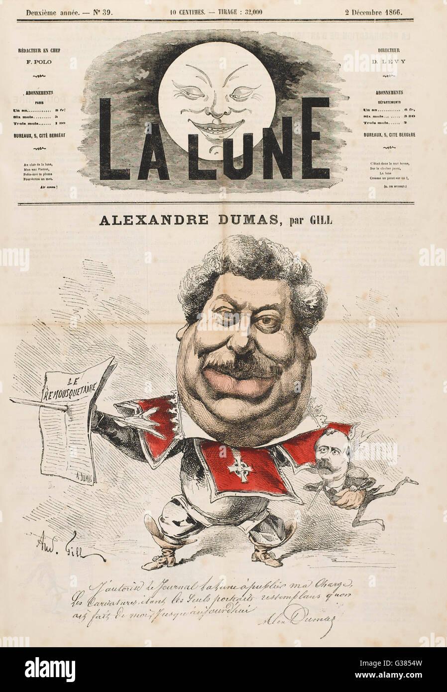 ALEXANDRE DUMAS (PERE)  French writer        Date: 1802 - 1870 - Stock Image