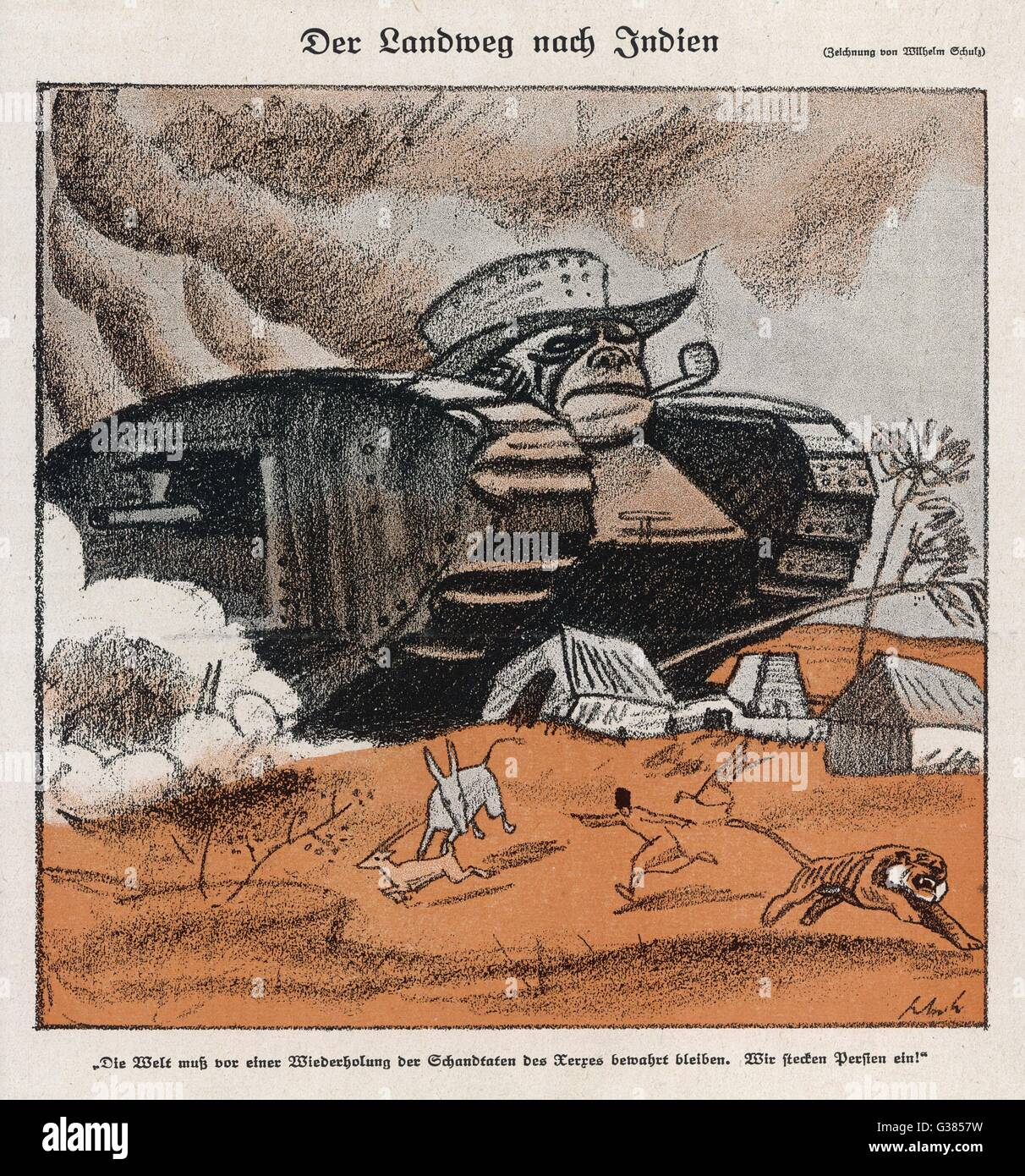 John Bull's tanks impose  British imperialism on India         Date: 1919 - Stock Image