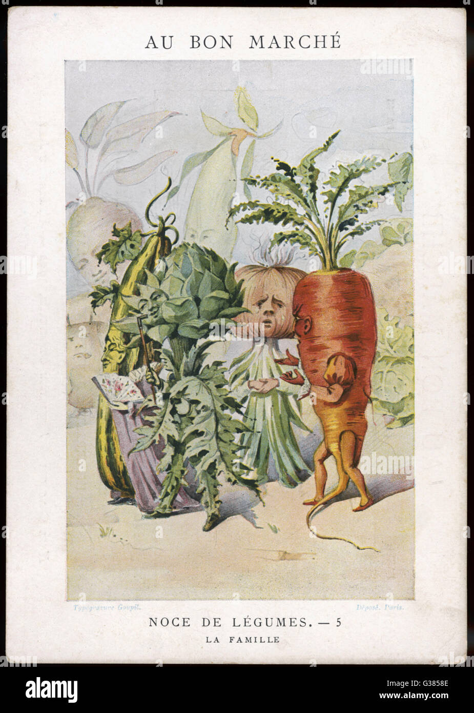 The Vegetable Wedding No.5: the family.        Date: 1900 Stock Photo