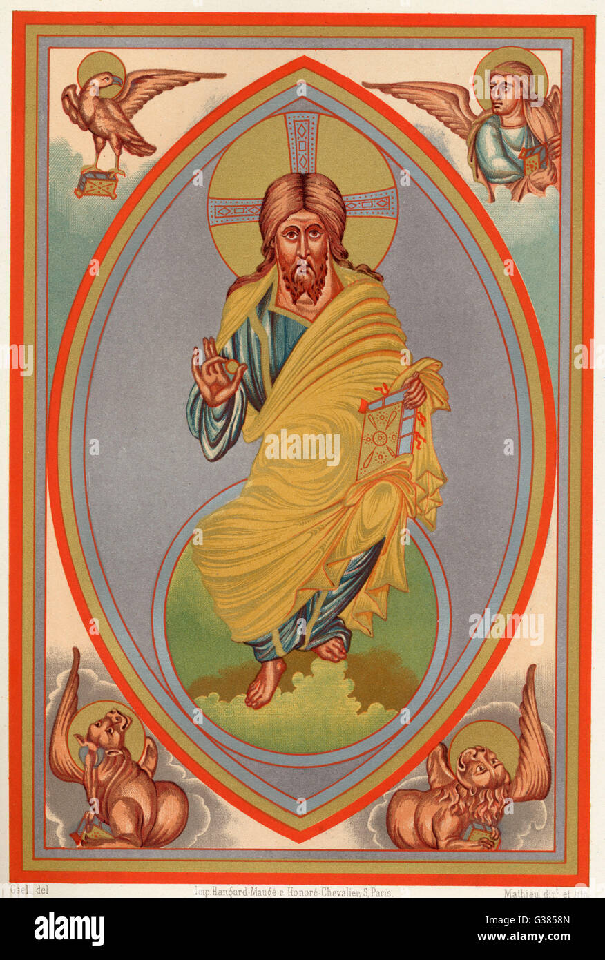 Jesus Of Nazareth Depicted As The King Of Glory With Symbols Of