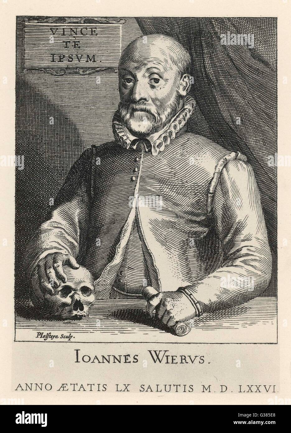 JOHANN WIER  German medical at the age of 60       Date: 1515 - 1588 - Stock Image