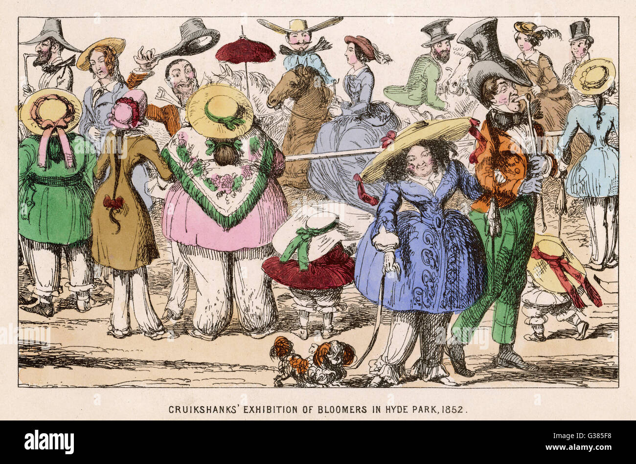 A show of bloomers.         Date: 1852 - Stock Image