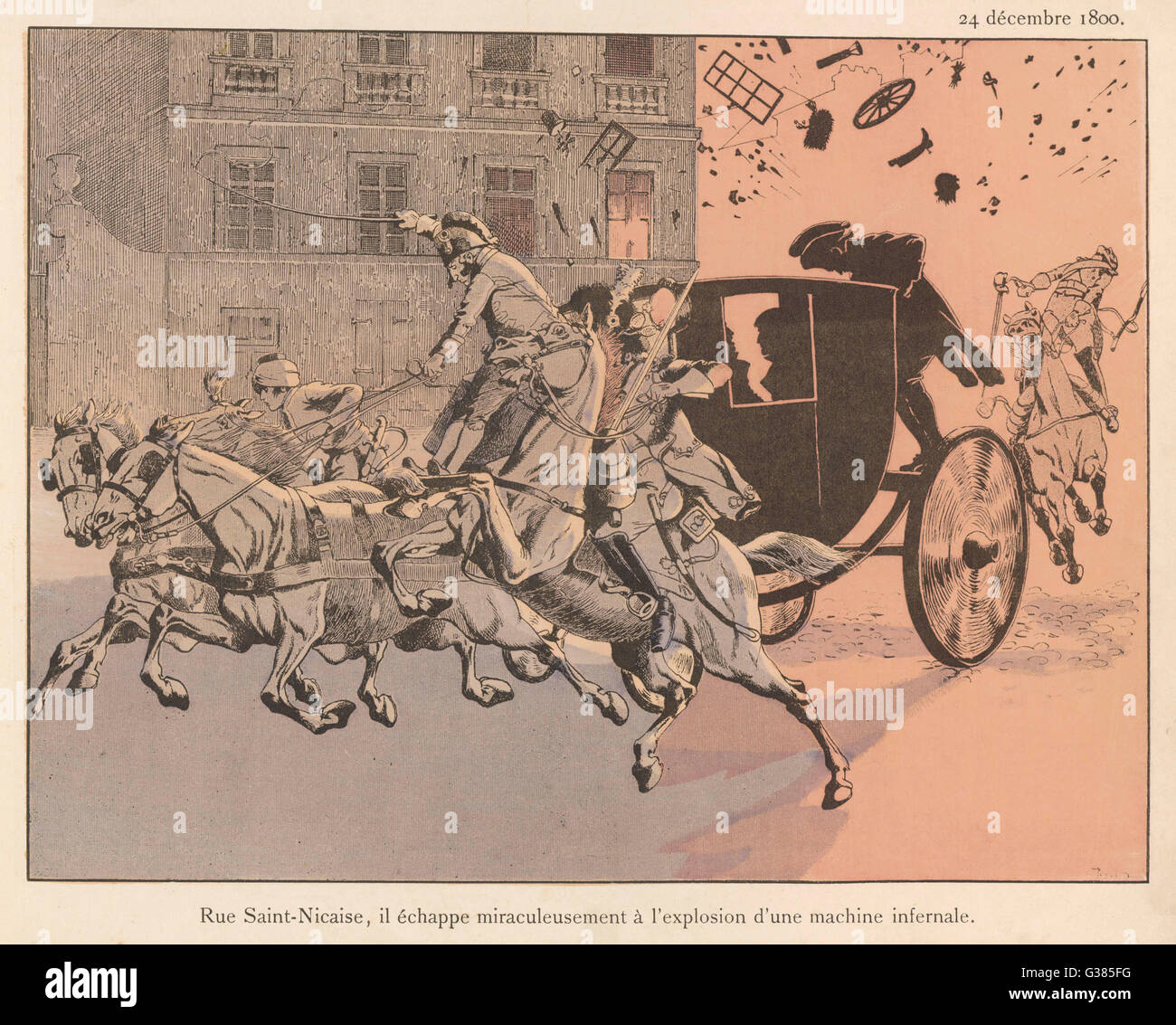 In the rue Saint-Nicaise,  Paris, his carriage is nearly  destroyed and himself nearly  killed by an infernal machine - Stock Image