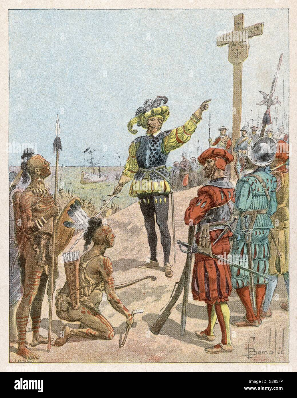 Jacques CARTIER takes  possession of the Baie de  Gaspe in the name of the king  of France       Date: 1534 - Stock Image