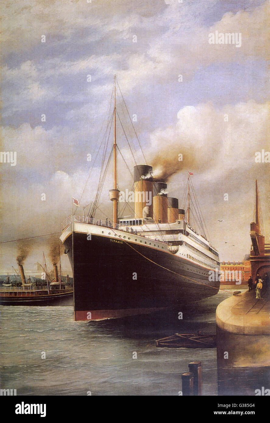 The Titanic docked before her disastrous voyage         Date: 1912 - Stock Image