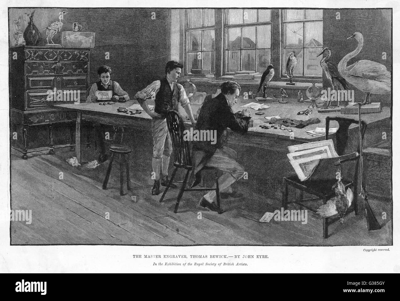 THOMAS BEWICK                     The eminent engraver and his  assistants making woodcuts of stuffed birds.    - Stock Image