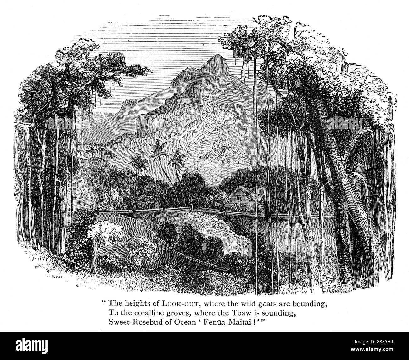 Pitcairn Island, where the mutineers of H.M.S. Bounty settled.     Date: 1789 Stock Photo
