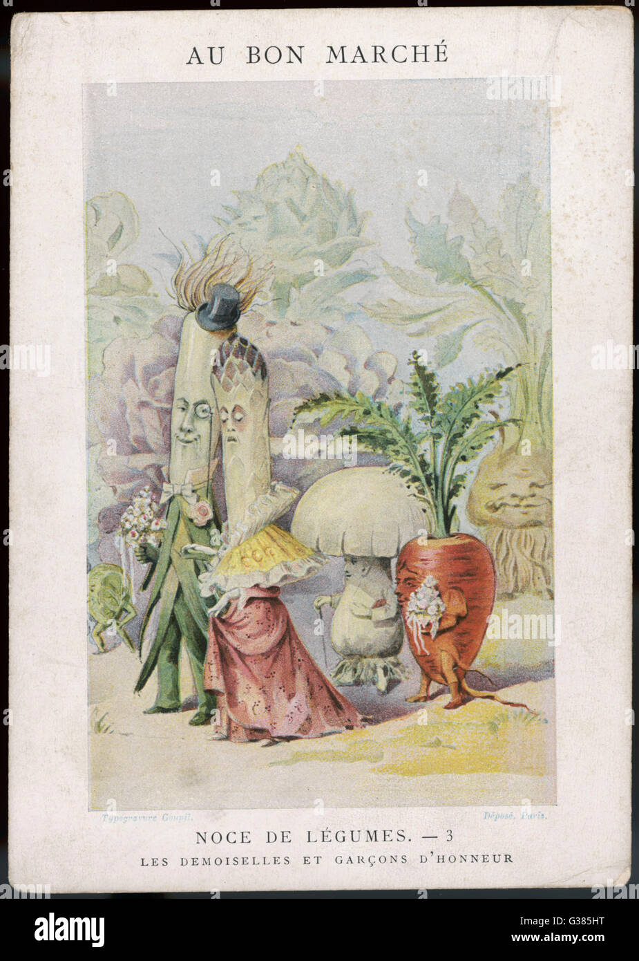 The Vegetable Wedding No.3:  the bride and groom, with maids and pages of honour.       Date: 1900 Stock Photo